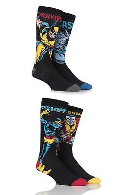 Mens 4 Pair SockShop Marvel X-Men Wolverine, Beast, Cyclops and Colossus Cotton