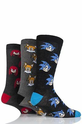 Mens 3 Pair SockShop Sonic the Hedgehog Nuckles and Tails Cotton Socks