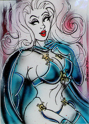 LADY DEATH Original Sketch Card Painting by Bianca Thompson