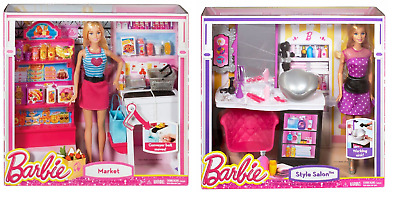 Barbie Malibu Shops Market&Style Salon Playset With Doll - FAST & FREE DELIVERY