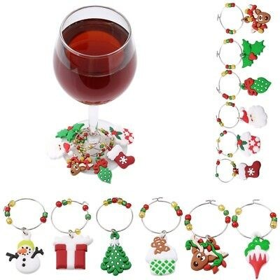6Pcs/Set Christmas Glass Wine Charms Markers Ring Table Decorations Gift