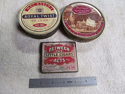 (3) Vintage Tobacco Tins, BETWEEN THE ACTS, MAC BAREN'S & JOHN COTTON'S.