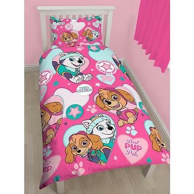 OFFICIAL Paw Patrol Pals Kids Girls Reversible Duvet Quilt Cover Single Twin Bed