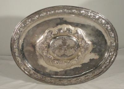 Antique Spanish Colonial Hallmarked Silver Serving Tray Repousse Mexico City