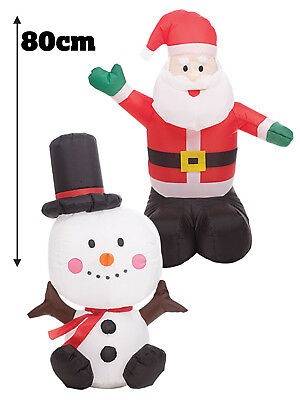Inflatable 80cm 150cm Blow Up Father Christmas Santa Snowman Xmas Decorations