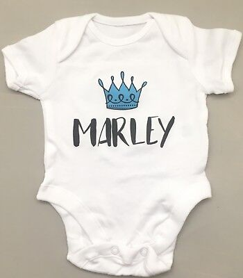 PERSONALISED baby boy clothing ROYAL CROWN vest babygrow great baby shower gift