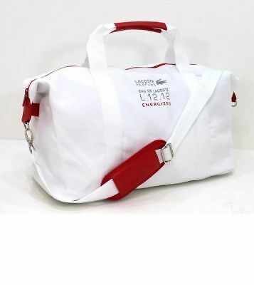 Lacoste  White Red Mens Sport Duffle Bag Gym  Weekend Travel Bag New