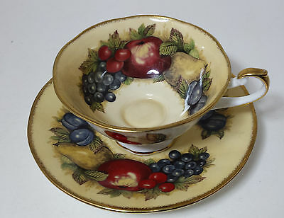 Vintage Queen's Fine Bone China Cabinet Cup & Saucer Duo - Antique Fruit