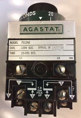 AGASTAT 7012AE TIMING RELAY *NEW NO BOX* Time 20-200 Seconds.. SALE 😍