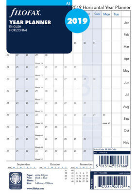 Filofax A5 Size Horizontal Year Planner 2019 Refill Insert 19-68506