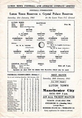 Luton Town v Crystal Palace Reserves Programme 21.1.1961