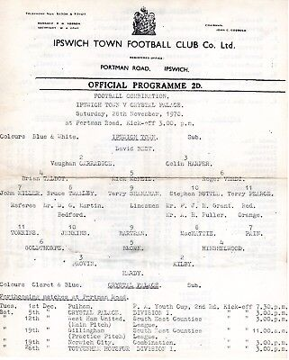 Ipswich Town v Crystal Palace Reserves Programme 28.11.1970