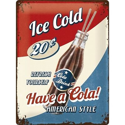 Targa in Latta Vintage Have a Cola! American Style 30x40 in metallo stampato