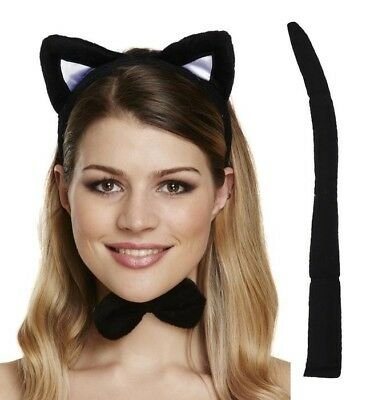 Cat Ears Bow Tie Tail Adult Child Dress Up Kit Animal Halloween Fancy Dress