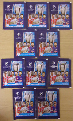 Uefa Champions League 2017/18 ~ Topps Sticker Collection ~ 10 x Sealed Packs
