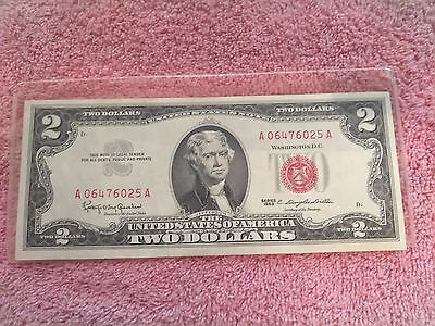 US Currency 1963 $2 Two Dollar US Note Red Seal Tender