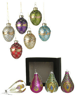 Vintage Deluxe Glass Christmas Tree Ornaments Hanging Decorations Xmas Glitter