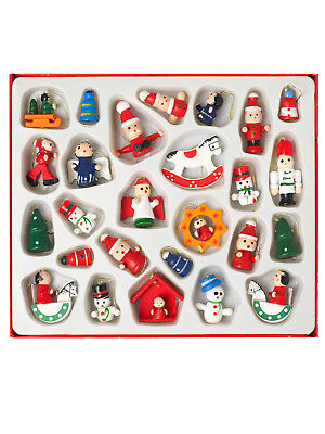 26 Piece Vintage Christmas Tree Decoration Hanging Wooden Xmas Ornaments