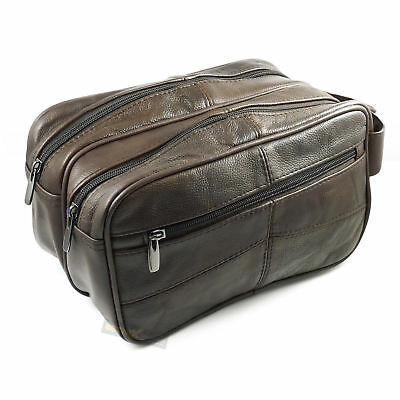 Large LEATHER WASH BAG zipped sections cowhide toiletries toiletry travel 3754