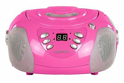Goodmans Cd Fm Boombox Gps02Pnk Portable Fm Mw Radio Cd Player Aux In Stereo