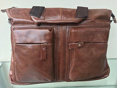 Genuine Leather Retro Vintage Business Bag Briefcase Laptop Bag Shoulder