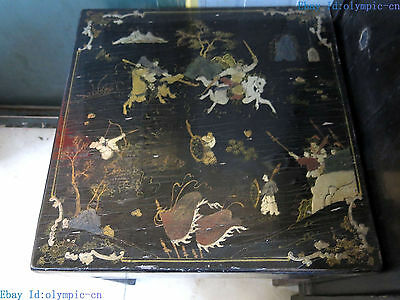 """21"""" China old handwork lacquerware picture wood stool pair fine Chair Statue"""