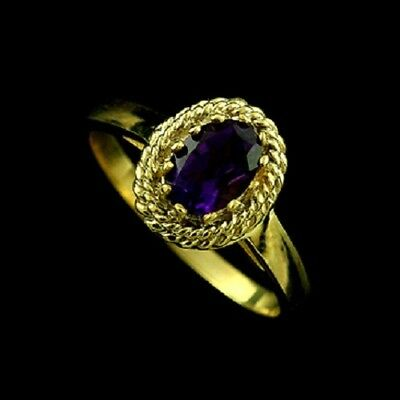 Delicate Oval Amethyst Vintage Style Engagement Ring