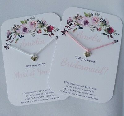Personalised Will You Be My Bridesmaid? Wish Bracelet Gift