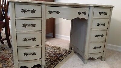 Antique French Provincial Furniture Gray Chalk Paint Desk Finished Front & Back