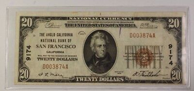 US $20 National Banknote Series of 1929 San Francisco California Charter #9174