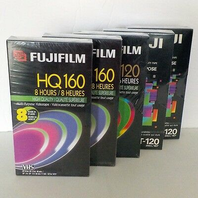 Video Cassette VHS VCR Tapes HQ Fujifilm Fuji 6hr 8hr lot of 5 Blank sealed