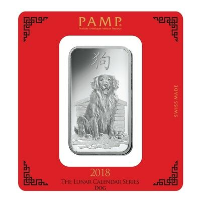 100 gram PAMP Suisse Year of the Dog Silver Bar (In Assay)