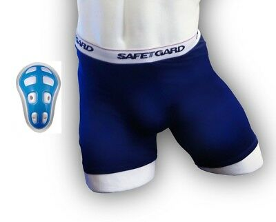 (Large, Navy Blue) - SafeTGard Mens Sliding Short with Cage Cup (Available in