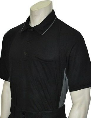 (Large, Black/Charcoal) - Smitty Major League Style Umpire Shirt - Performance