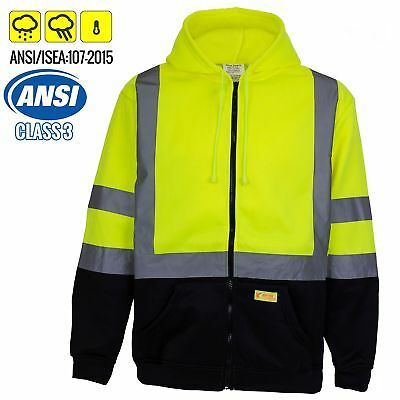 Class 3 Winter Safety Jacket High Visibility Reflective Full Zip Coat Large Full