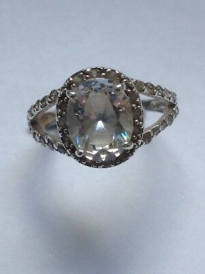 Vintage Sterling Silver(Hallmarked) Ring With Oval Shaped Sparkly Stone. Size N.