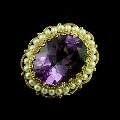 Victorian Style Amethyst and Pearls Ring 14k Gold