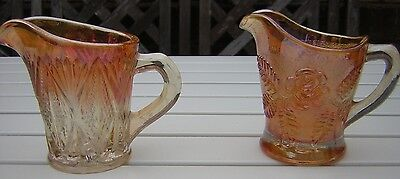 Two Vintage Marigold Carnival Glass Creamer / Milk Jugs
