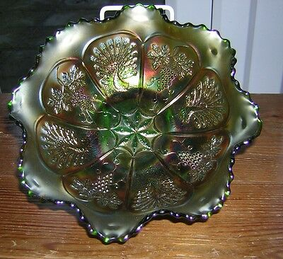 FENTON Green Carnival Glass Peacock and Grapes Bowl