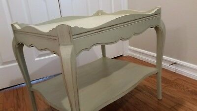 Antique French Provincial Furniture Creamy  Chalk Painted End Table/ Side Table