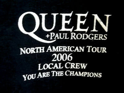 Queen + Paul Rodgers 2006 North American Tour Local Crew Black Men's XL T-Shirt