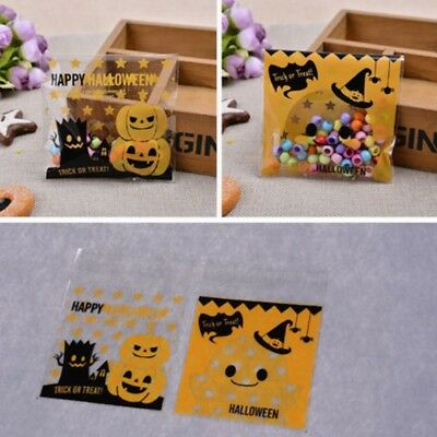 100x Halloween Party Favour Pumpkin Cookie Sweet Candy Biscuit Gift Bags New