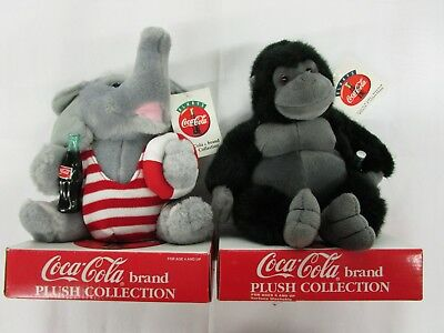 Coca Cola Plush Collection Lifeguard Elephant with Cola Bottle and Gorilla NEW