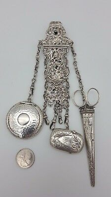 Antique Victorian Solid Sterling Silver Chatelaine London 1894 Samuel Jacob