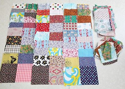 "103 Vintage Quilt Blocks  puff quilt 70s patterns prints 5"" square charms bright"
