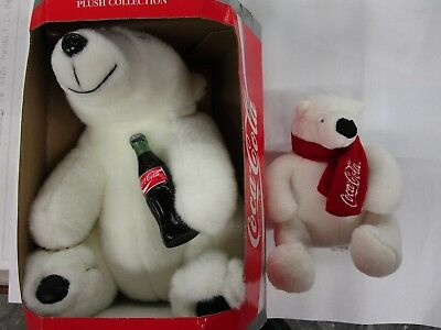 "Coca Cola Plush Collection Polar Bear 11"" and 7"" holding Coke Bottle NEW"