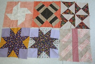 "6 Vintage Quilt Blocks 11"" Square Pillow Patchwork Star Calico Shabby Country"