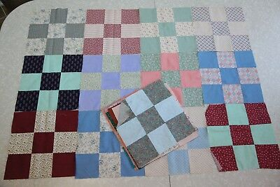 "25 Vintage Quilt Blocks 11"" Nine Square Patchwork Plaids Calico Shabby Country"