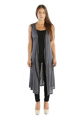 Nelly Aura Open Duster Sleeveless Long Cardigan Vest w/ Pockets - MADE IN USA