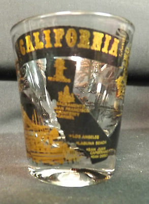 California State Shot Glass. Gold and Black. Nice Design. Superb Condition.